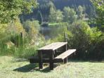 1 of several picnic tables around the grounds