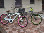 2 brand new beach bikes with lock and basket.