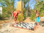 Giant chess set in the fabulous large garden