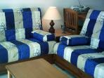 Lounge with  two  3-seater sofas/futon double beds.