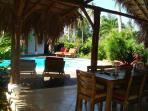 pool view from dining table