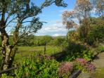 Beautiful views across peacefull farmland, looking towards the Long Mynd.