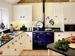 Mole End, lovely, large Mark Wilkinson designer hand painted and oak fully equipped kitchen with Aga