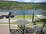 Stunning views from the apartment over the marina and east end of Loch Tay