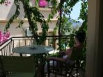 The main balcony in the afternoon,shaded and great to chill out on,even nicer for evening drinks!!