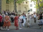 Sardanes Dancers in Place Picasso - this happens often!