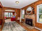 TV room with instant on gas fireplace, perfect for cool mornings or nights.