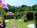 The lovely flowered garden arounds the property