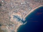 Aerial photo of area; with modern and classy Frejus Port visible. House is located at the boxed tag.