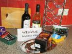 Welcome tray including wine, Cornish fare, coffe and a selection of teas.