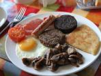 A hearty scottish breakfast, lighter options availabe and vegetarian requested in advance