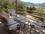 Stylish seating on the raised, shaded drinks terrace with views over Kalkan and Kalamar bays.