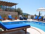 Looking across the private pool to the raised drinks terrace