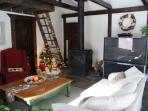 Living Room View & Loft Entrance at Christmastime