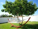 hammock in the back garden in shade of fig tree