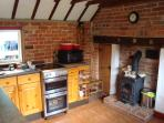 Kitchen with wood stove