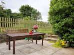 Seating are in the enclosed garden
