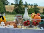 A continental breakfast of local, delicious, fresh foods can be ordered for just £12 p/p/p/n