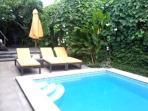 Pool sun beds and parasol