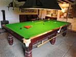 Snooker table in shared adult games room (and very strictly supervised under 16s)