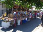Local market stalls in Caulonia Marina Town
