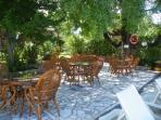 Poolside eating area