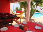 Exterior Dinner and Pool Table