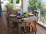 Ground floor balcony- ideal for breakfast/afternoon tea, relaxing &  watching those amazing views
