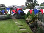 Garden decorated for lifeboat day, bunting available for your use