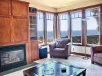 Great room - cozy, warm and with a fab view.