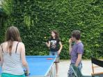 Table tennis in the courtyard