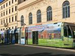 Tram 8 takes you in the hart of historic city center, runs every 3 min till midnight (Sat till 3am)