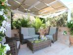 Outdoor pergola for relaxing in the shade