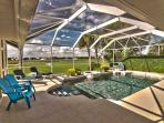 Pool overlooks golf course. Chairs and sun loungers provided.
