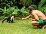 Feeding a monkey in the yard at Cabinas Ola Mar