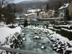 Snowy scene in Brides=les-Bains...