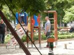 One of the two childrens playgrounds in Liberty Sq