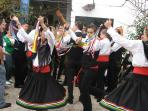 The Colourful Verdiales dancers in Comares