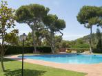large pool with sun terraces, lawns, beautiful gardens with mature trees