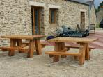 2 x Picnic benches to rear with sun terrace facing the stunning views and sun loungers .