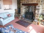 Wood burner for cosy evenings indoors.