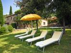 Set in the majestic Tuscan hills, six bedroom farmhouse with outdoor pool, private garden and gorgeous views