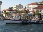 Gulluk harbour with many local shops, restaurants and bars