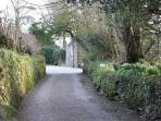 Driveway to the Old Rectory with the Cottage on the right