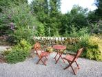 table and chairs in garden area