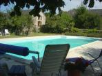 Pool (12 x 6 M) is located in a fenced/walled area, with child safety gate.