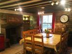 Inglenook with log burner in case of a chilly evening