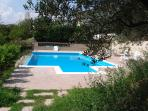 Other view of the swimmingpool whit around lemon and olive trees