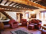 Second view of main sitting room, with access to La Photinia bedroom & staircase to La Rosa bedr