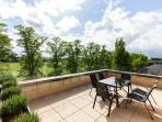 Expansive roof terrace with views over Parker's Piece; Cambridge's premier Park